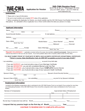 pension application form online