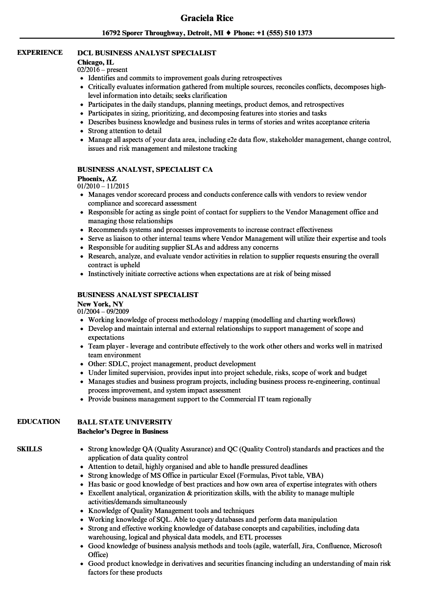 what doea business analyst application specialist