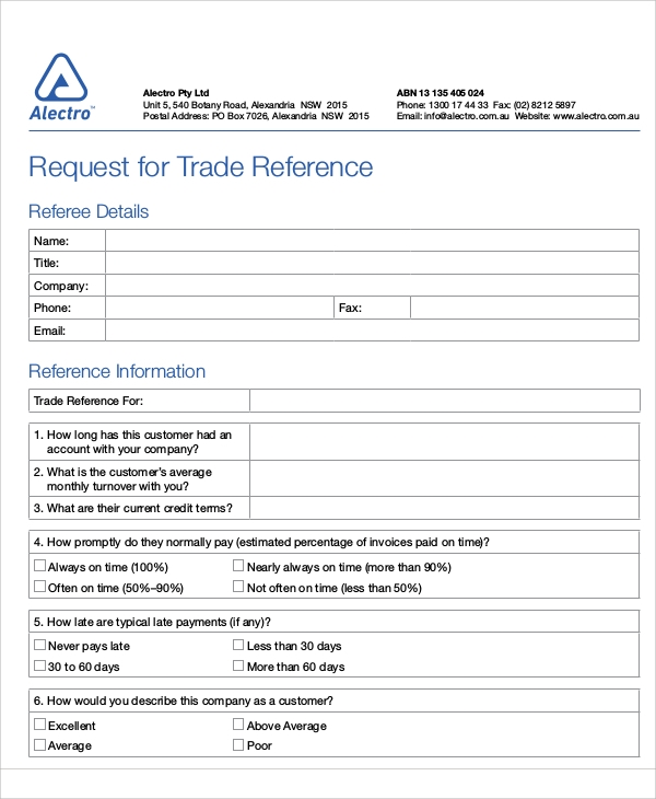 trade reference sample
