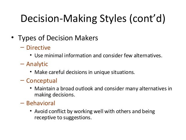types of decision making pdf