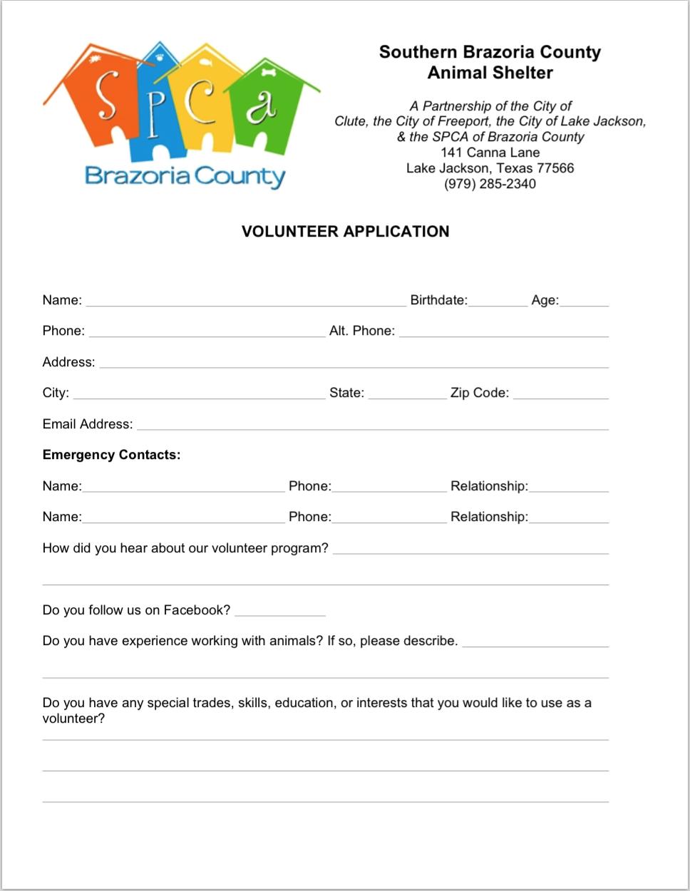 spca volunteer application