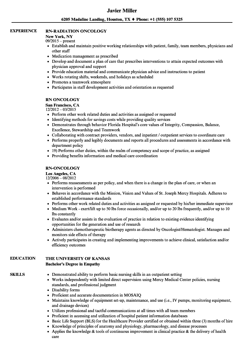 radiation therapist cv sample nz