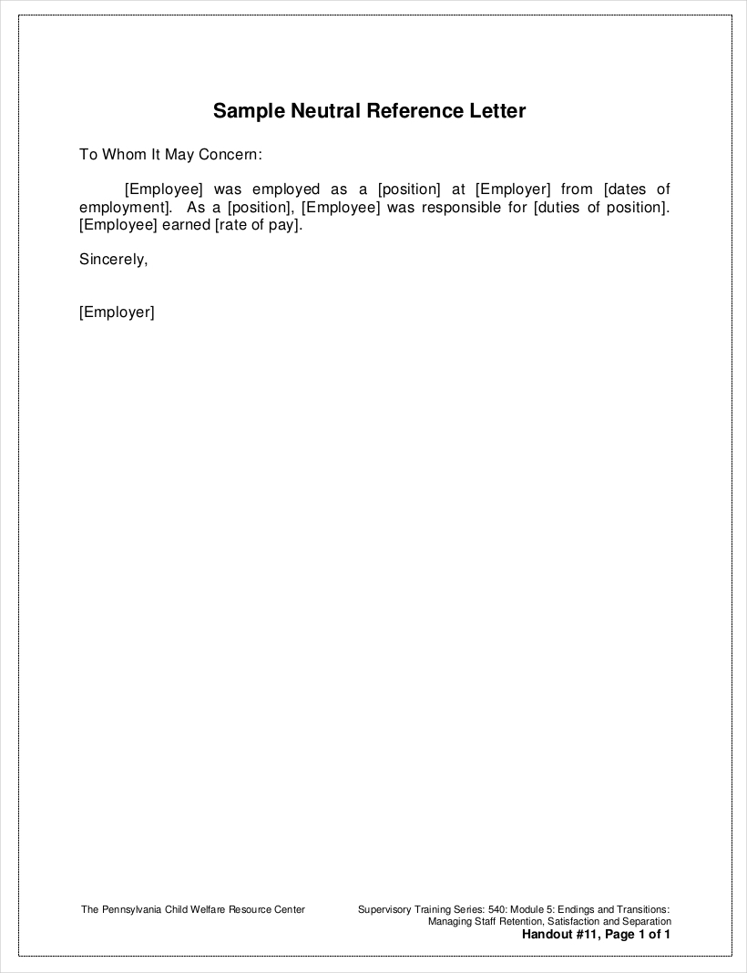 reference letter from employer pdf