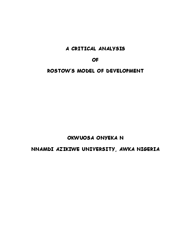 rostow stages of development pdf
