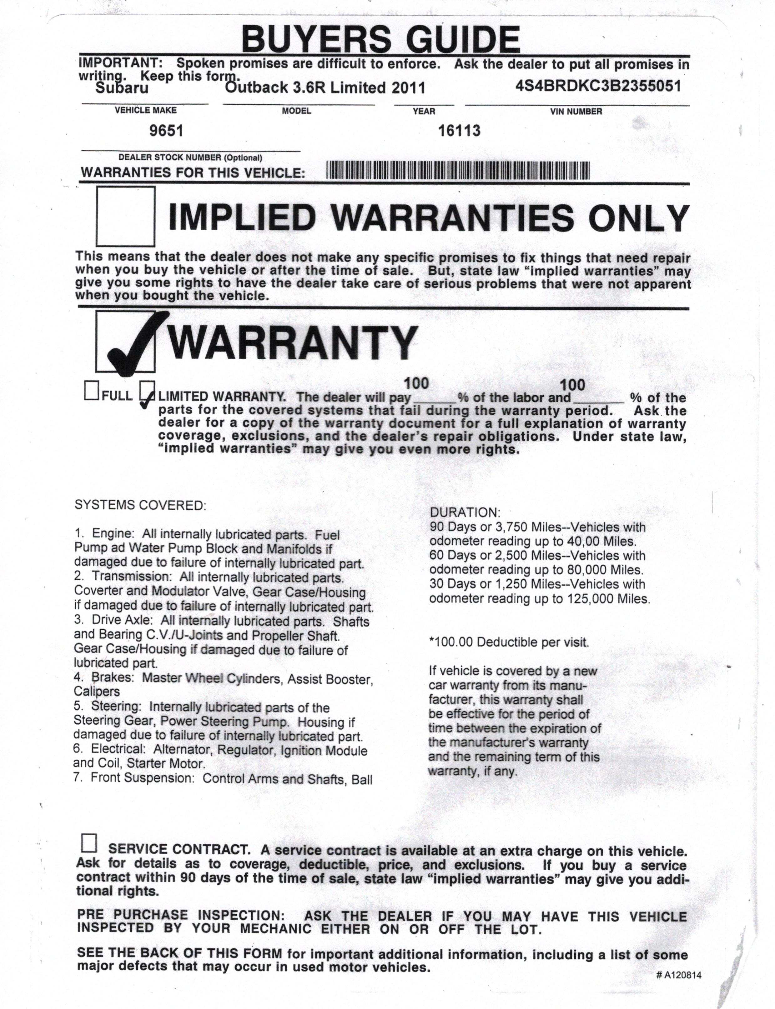 warranty policy sample