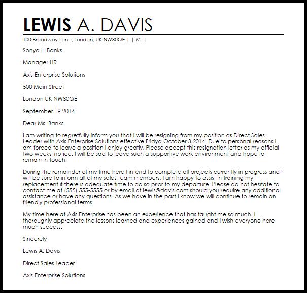 sample resignation letter template uk