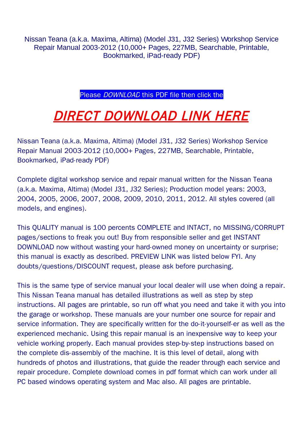 nissan teana 230jk owners manual