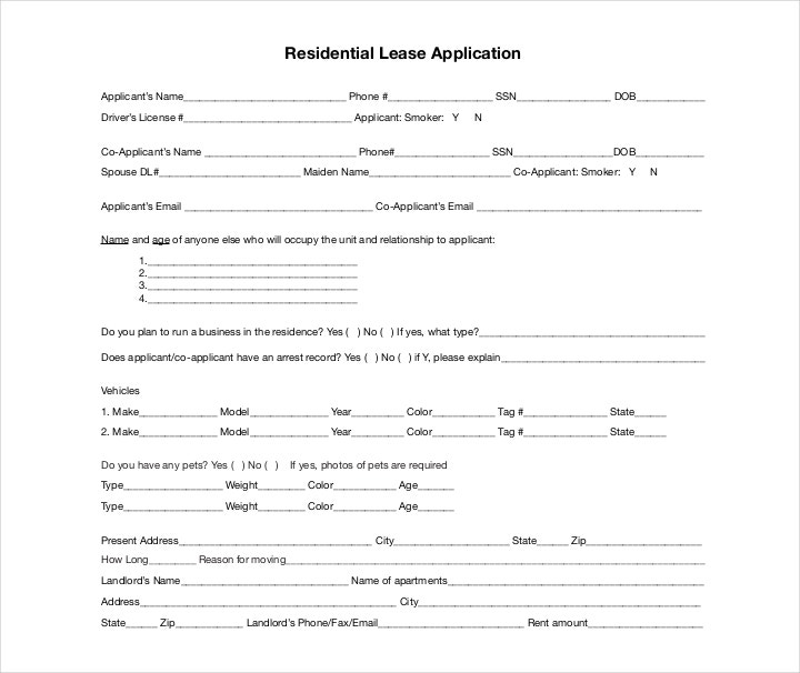 residential application form